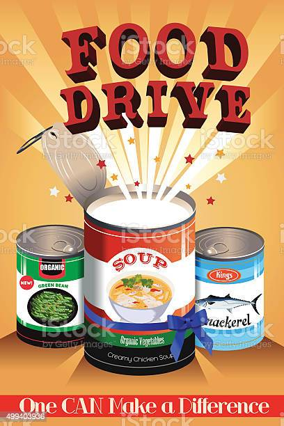 Food Drive Poster Stock Illustration - Download Image Now