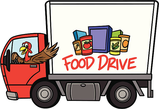 Food Drive Food Drive - Text and Food on side of truck are separately grouped objects and can be quickly repositioned or removed for your project. food drive stock illustrations