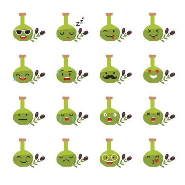 illustrations, cliparts, dessins animés et icônes de illustration vectorielle de nourriture emoji: bouteille d'huile d'olive - dam