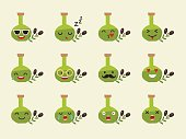 Food emoji vector illustration: olive oil bottle.  Different emotions collection. Colorfull olive oil emoticons icon, cartoon style. Flat sticker