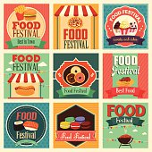 A vector illustration of food festival icon sets