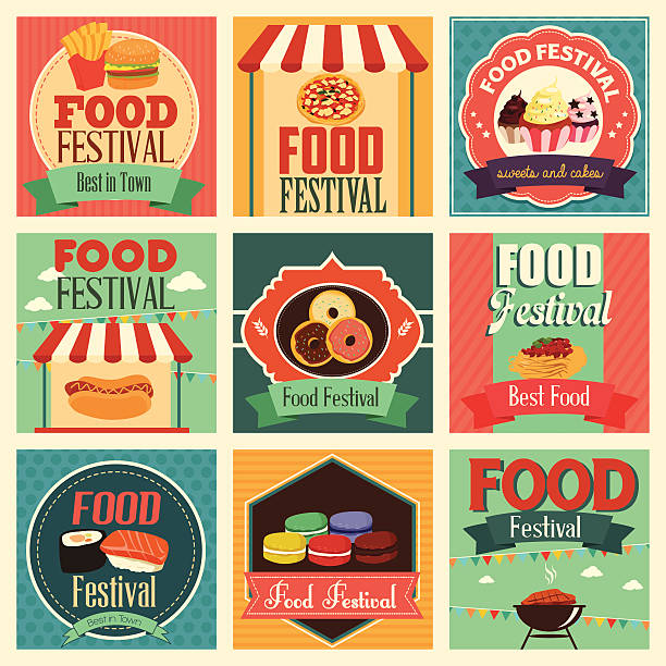 food festival icons A vector illustration of food festival icon sets food festival stock illustrations