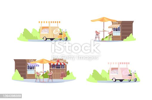 Food festival in urban park semi flat RGB color vector illustration set. Van to sell popcorn. Court with table and chairs. Food fest shops isolated cartoon object pack on white background