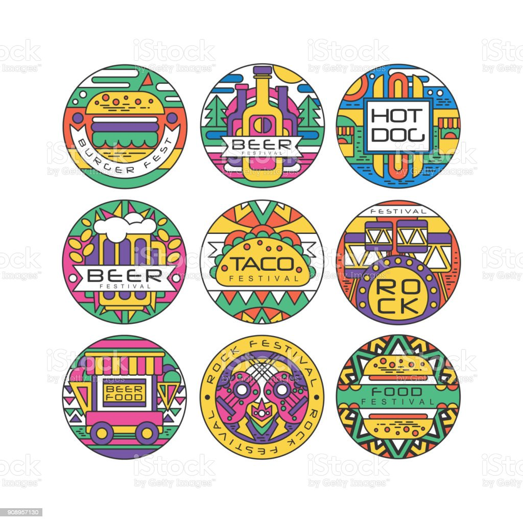 Food Festival Logo Set Burger Fest Beer Festival Hot Dog Tako Festival Rock Food And Music Round Labels Or Stickers Vector Illustrations Stock Illustration Download Image Now Istock
