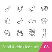 food flat icon set