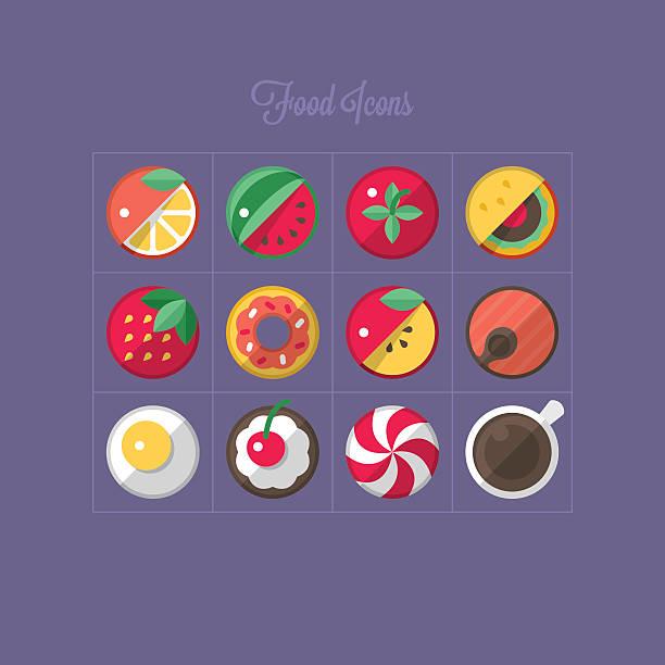 essen flach icons design - lachskuchen stock-grafiken, -clipart, -cartoons und -symbole