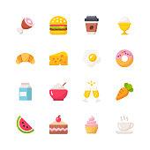 16 Food Flat Icons.