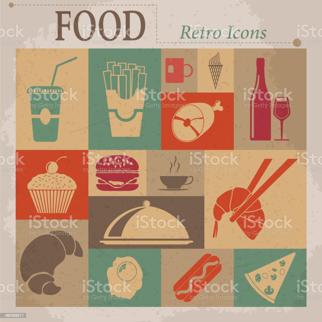 Food Flat Vector Retro Icons royalty-free stock vector art
