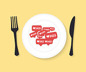 Food for blogger. Top view. Flat vector illustration. Criterion of popularity in social networks