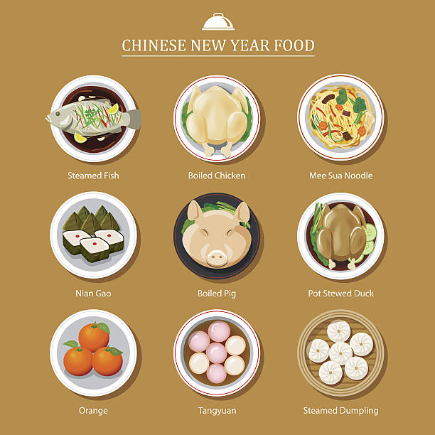 food for chinese new year - reunion stock illustrations, clip art, cartoons, & icons