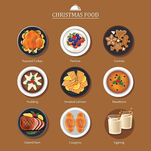 Food for festival christmas and thanksgiving Food for festival christmas and thanksgiving christmas dinner stock illustrations