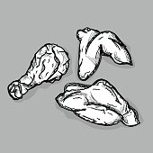 food Fried chicken fastfood drawing graphic illustrate objects