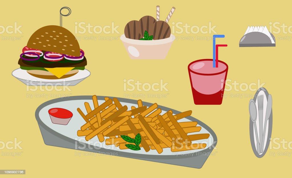 food fries ice cream hamburger drink napkins vector art illustration