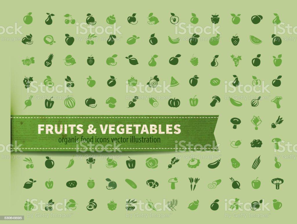 food. fruit and vegetables icon set vector art illustration