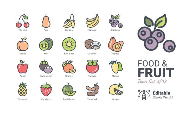 Food & Fruit vector icons Food & Fruit vector icons lemon fruit stock illustrations