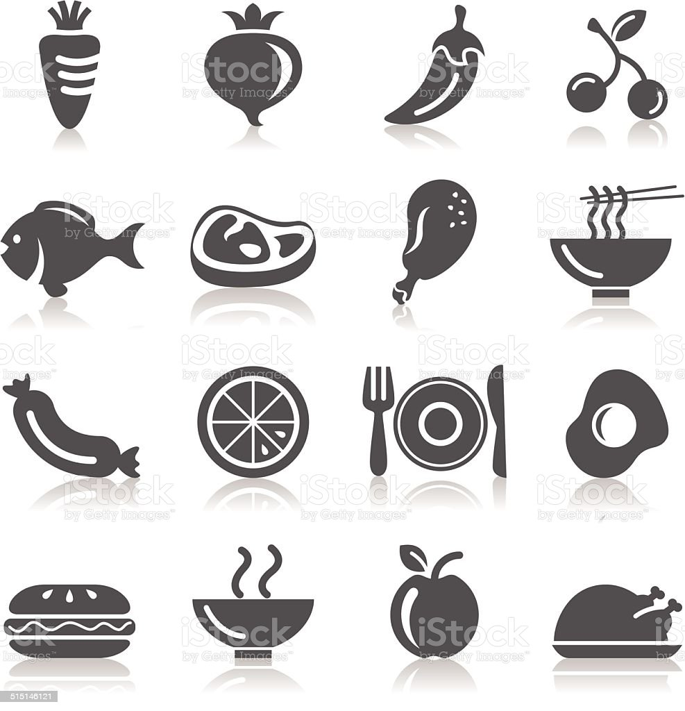 Food, Fruits and Vegetables Icons vector art illustration