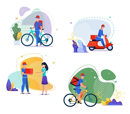 Food, Groceries, Goods Delivery Services Flat Set