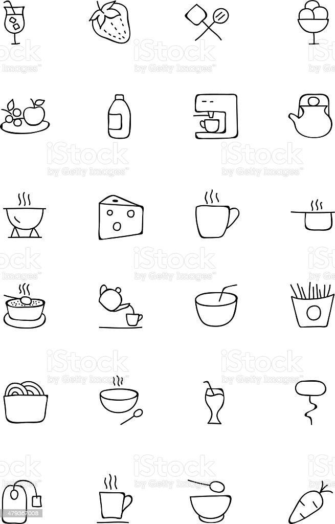 Food Hand Drawn Icons 4 vector art illustration