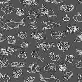 Food hand drawn icons seamless pattern. Vector hand drawn food background