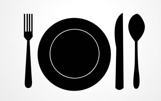 ilustrações, clipart, desenhos animados e ícones de ícone do alimento, símbolo do alimento - fine dining