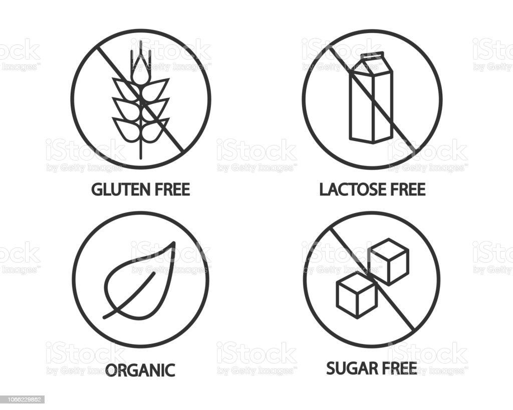 Essen-Symbol - glutenfrei Laktose frei, organische und Zucker kostenlose Icons. Schwarz und weiß-Abbildung – Vektorgrafik