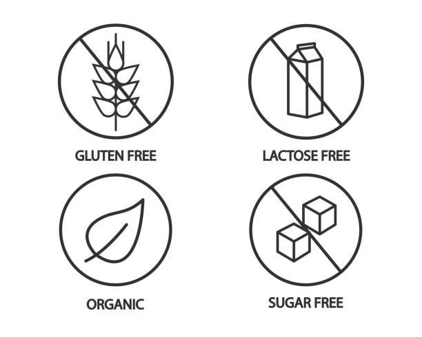 ilustraciones, imágenes clip art, dibujos animados e iconos de stock de icono de comida - sin gluten, lactosa libre, orgánica y azúcar libre de iconos. ilustración blanco y negro - sin gluten