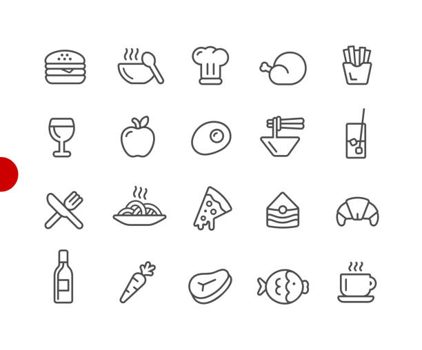 Food Icon Set 1 of 2 // Red Point Series Vector line icons for  your digital or print projects. french fries stock illustrations