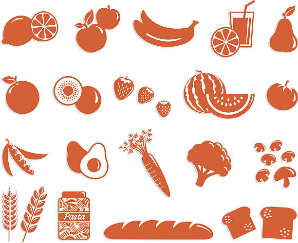 Food Icon Set - Fruit, veggies and cereals Food Icon Set with fruit, vegetables and cereals icons in one color and transparent shadow. Layered and groupped, high resolution jpg included. Vector eps 10 - More related: avocado silhouettes stock illustrations
