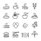 food icon set, line version, vector eps10.