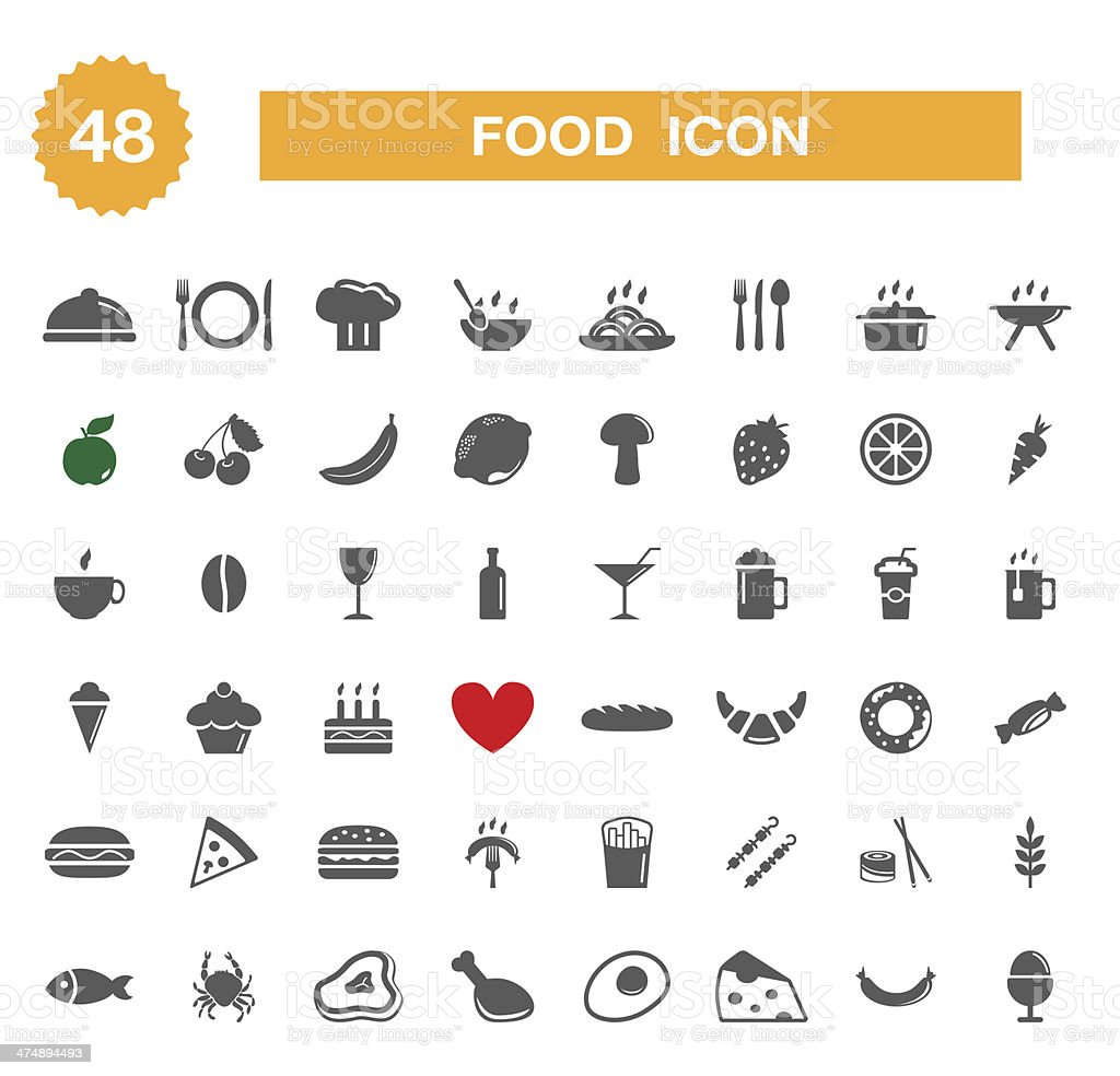 Food icon - set vector art illustration