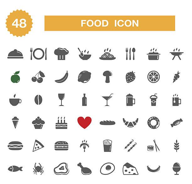 食事のアイコン-セット - フランス料理点のイラスト素材/クリップアート素材/マンガ素材/アイコン素材