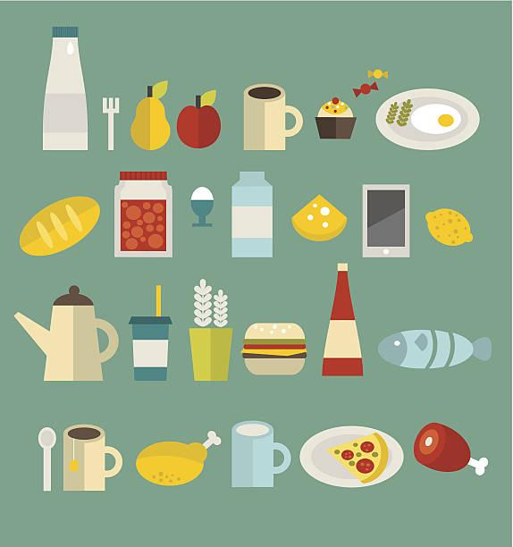 food icon-set. - pflaumenkuchen stock-grafiken, -clipart, -cartoons und -symbole