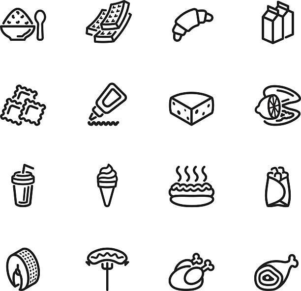 food icon set sixteen black outline food icons isolated on white ravioli stock illustrations