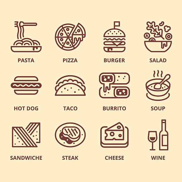 bildbanksillustrationer, clip art samt tecknat material och ikoner med food icon set - cheese sandwich