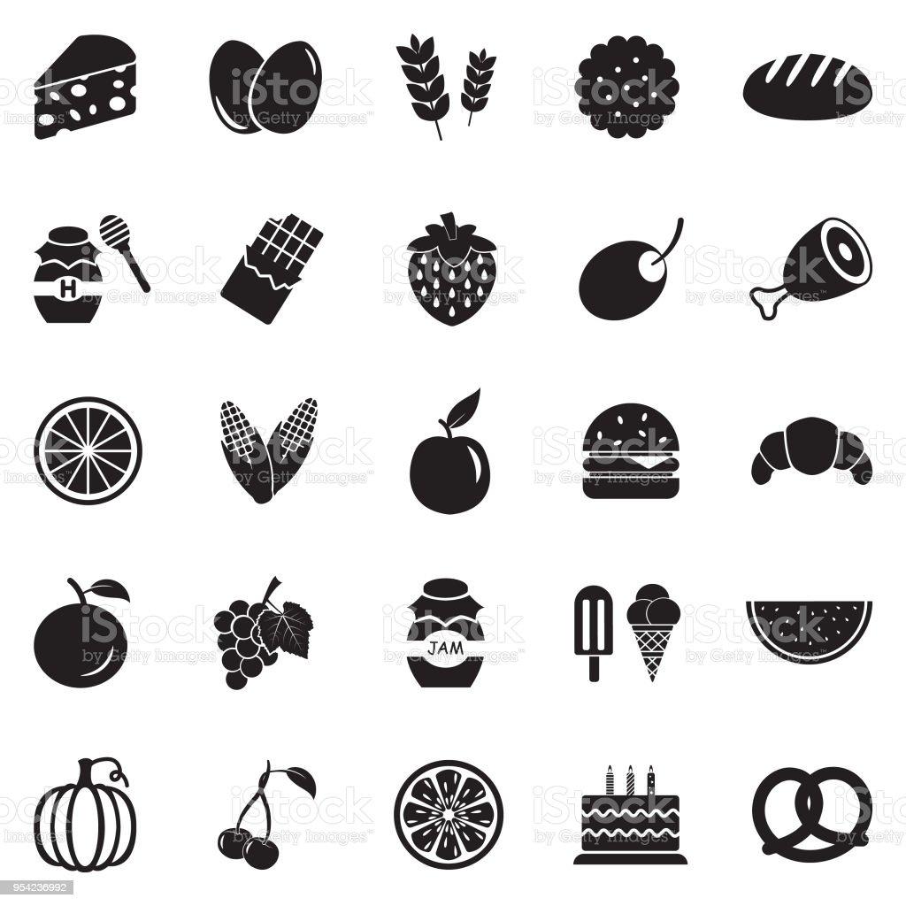 Food Icons. Black Flat Design. Vector Illustration. vector art illustration