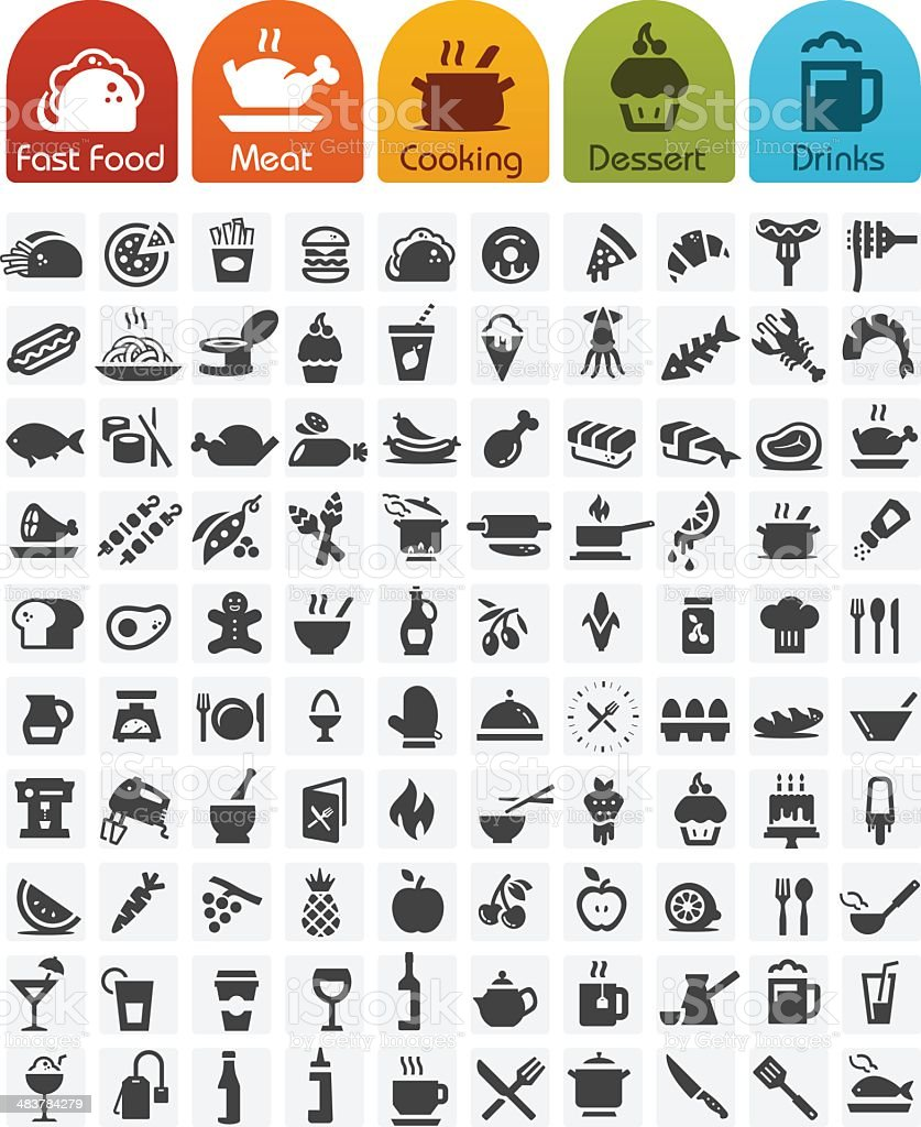 Food Icons bulk series - 100 icons vector art illustration