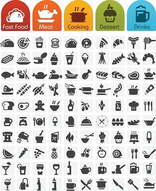 food icons bulk series - 100 icons - food and drink stock illustrations, clip art, cartoons, & icons