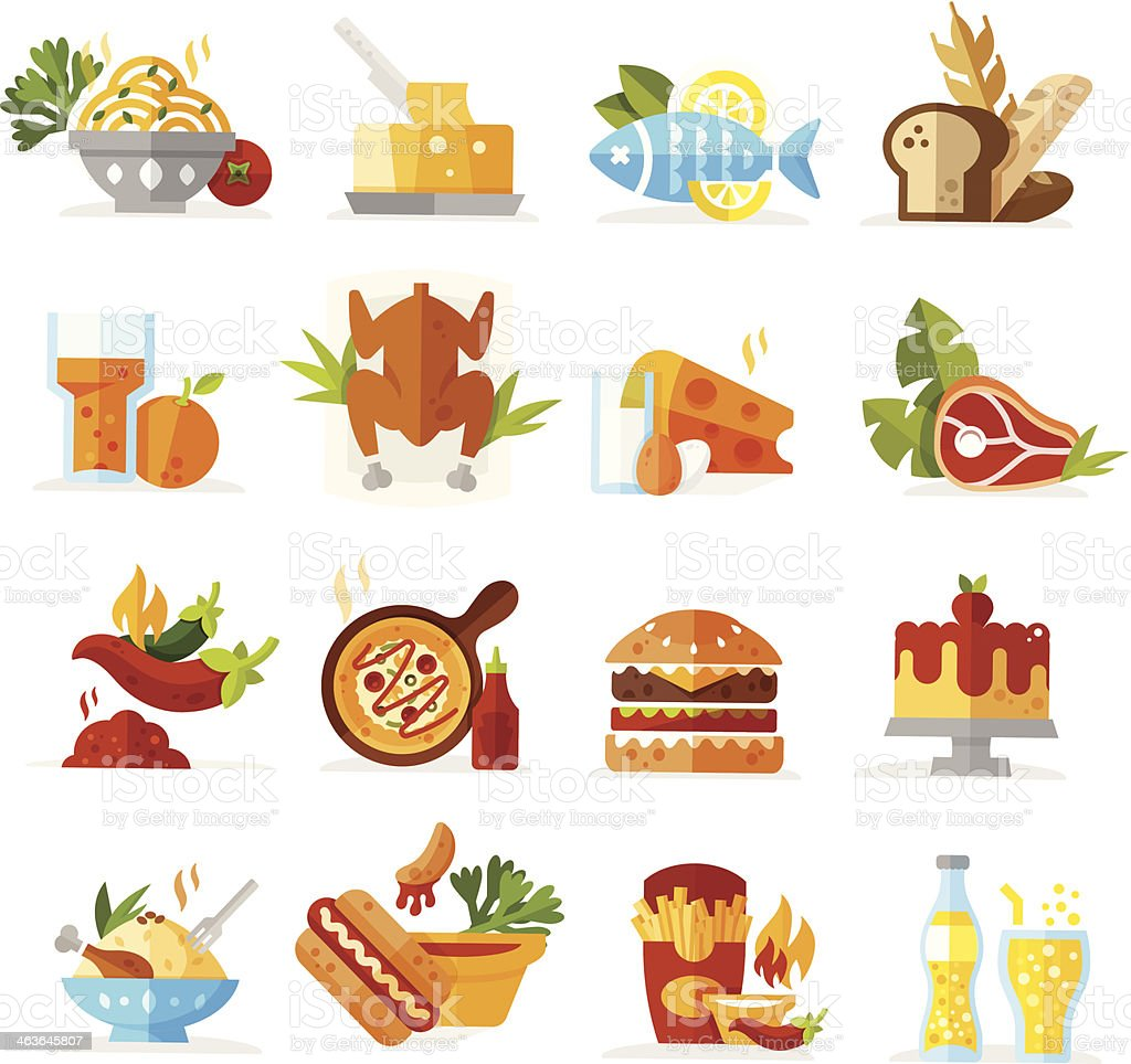 Food Icons - Colored series vector art illustration
