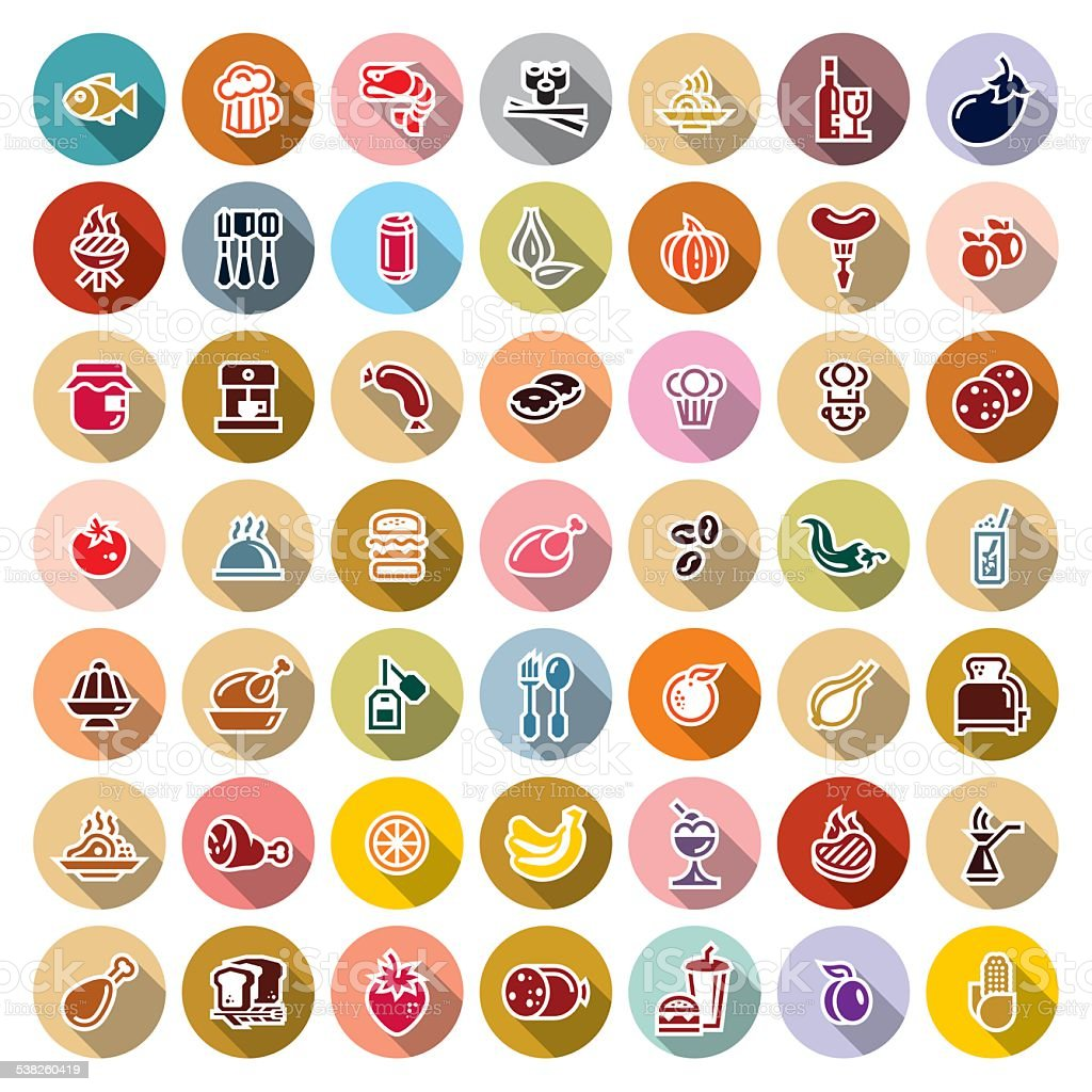 food icons for applications vector art illustration
