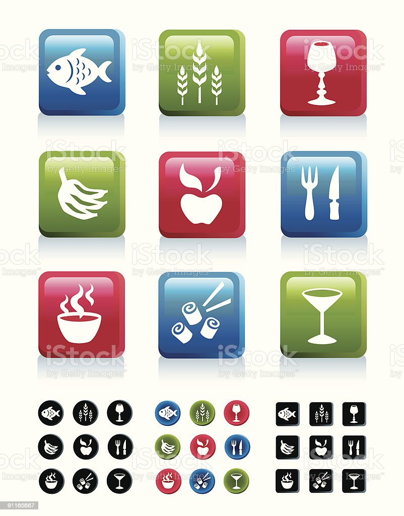 Food icons in 4 variations, part 1 royalty-free stock vector art