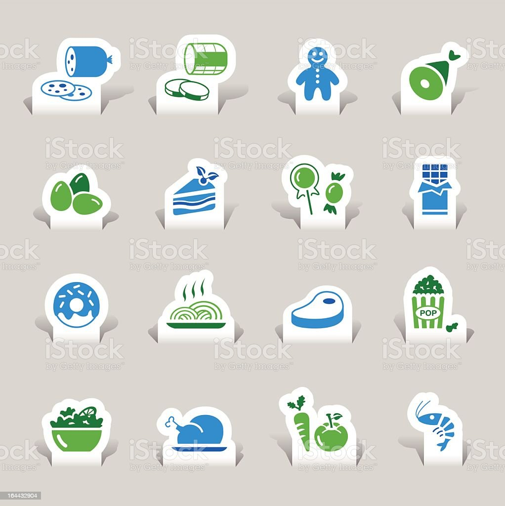 Food icons in blue and green cut from paper royalty-free stock vector art