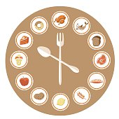 Food Icons Infographic Clock. Flat Design.