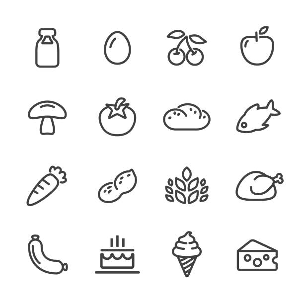 Food Icons - Line Series Food, Fruit, Vegetable, Meat, cherry stock illustrations