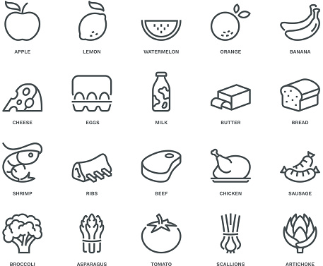 Food Icons,  Monoline concept clipart