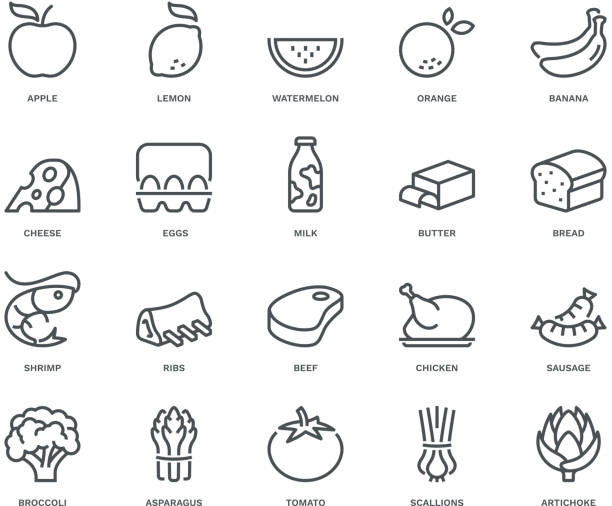 Food Icons,  Monoline concept The icons were created on a 48x48 pixel aligned, perfect grid providing a clean and crisp appearance. Adjustable stroke weight. artichoke stock illustrations