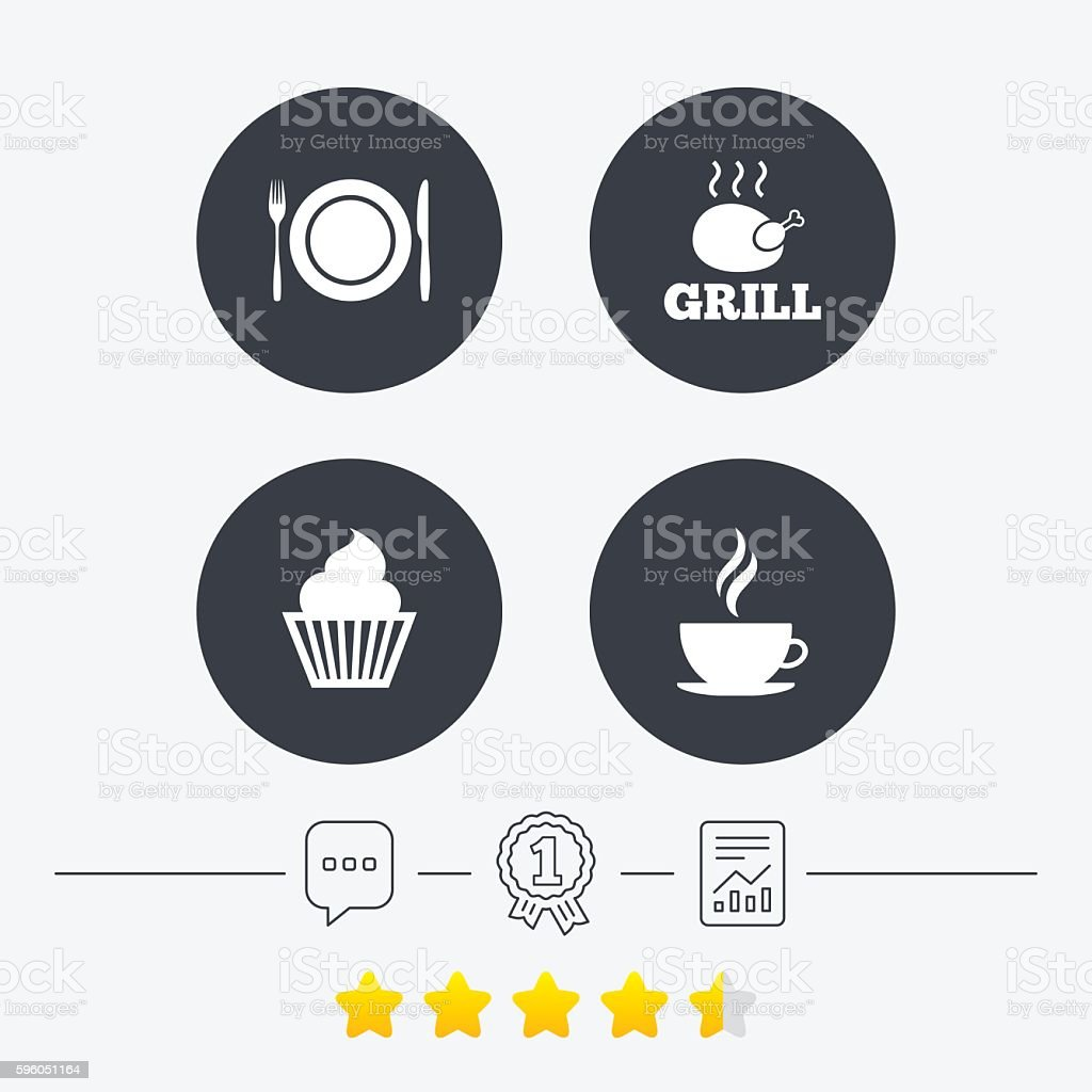 Food icons. Muffin cupcake symbol. Fork, knife. royalty-free food icons muffin cupcake symbol fork knife stock vector art & more images of award