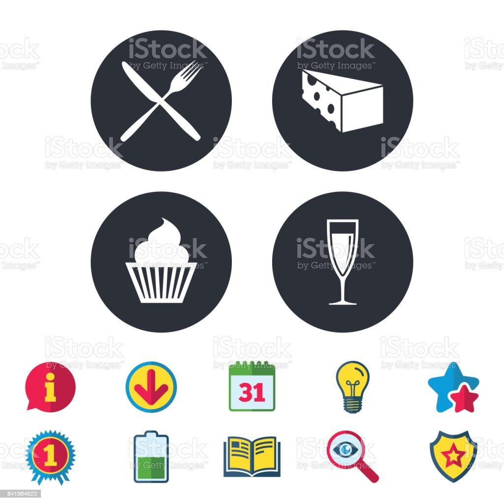 Food Icons Muffin Cupcake Symbol Fork Knife Stock Vector Art More