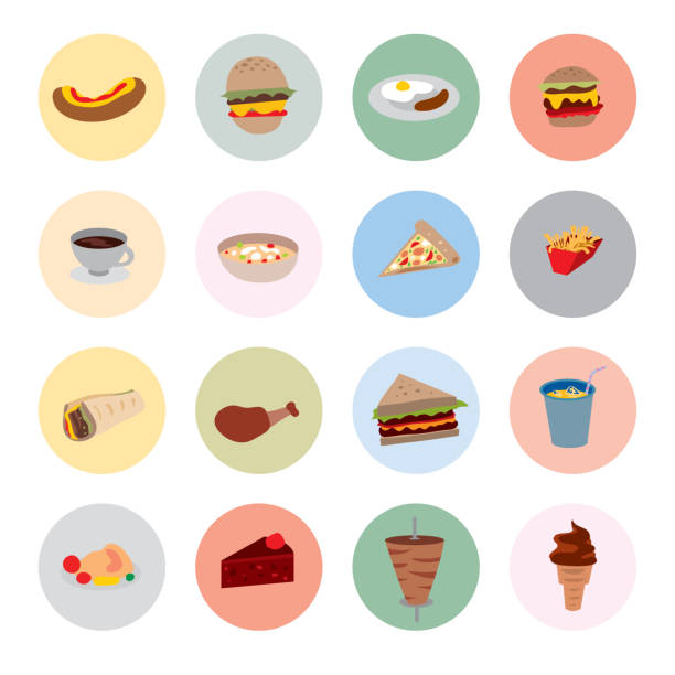food icons, restaurant menu symbols (vector art) - sub sandwich stock illustrations, clip art, cartoons, & icons