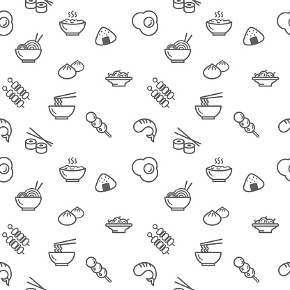 Food icons seamless pattern grey vector on white background.
