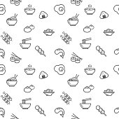 Collection Of ramen, rice, dumpling, dim sum, fried egg.\nTemplate for design fabric, backgrounds, wrapping paper.